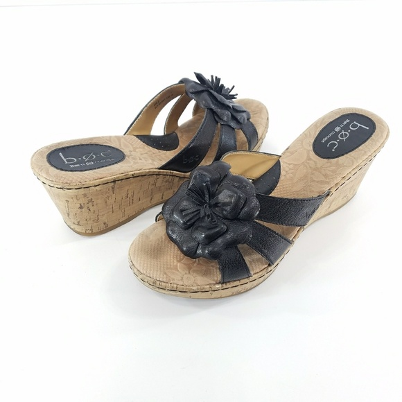 f8d9ae1bda988f Born Shoes - BOC Born Black Flower Wedge Sandals